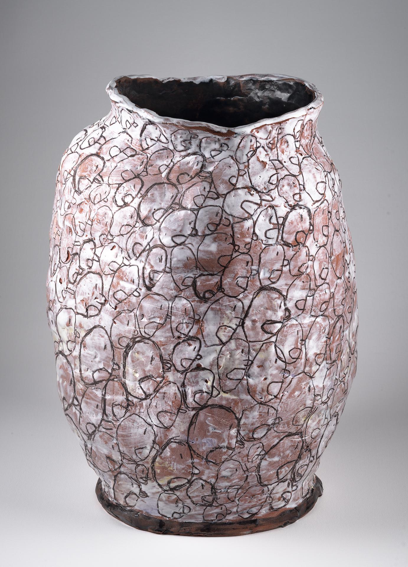 "Shouting It Out , 2014, 14""x10"",glazed ceramic vessel"