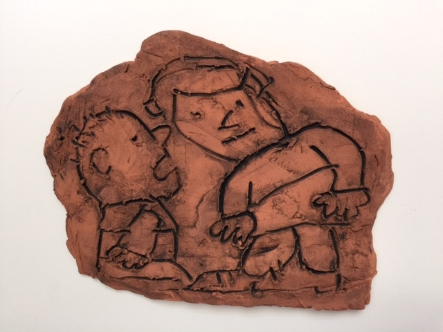 """Listening , 10""""x12"""", Earthenware Clay with Acrylic"""