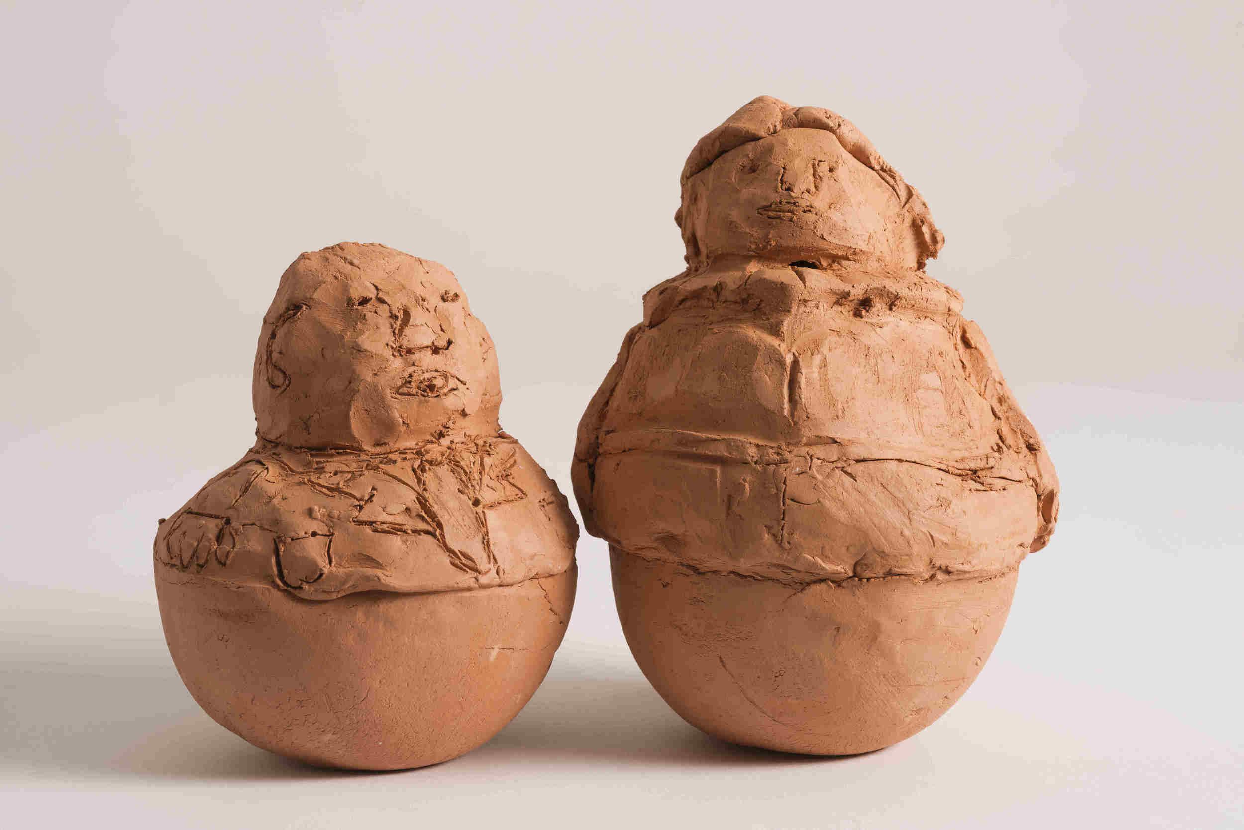 """Pushovers Unite (A Quiet Revolution)"", Detail #2, 2015, 2 Red Earthenware Ceramic Sculptures, Each approximately 7""x5"""