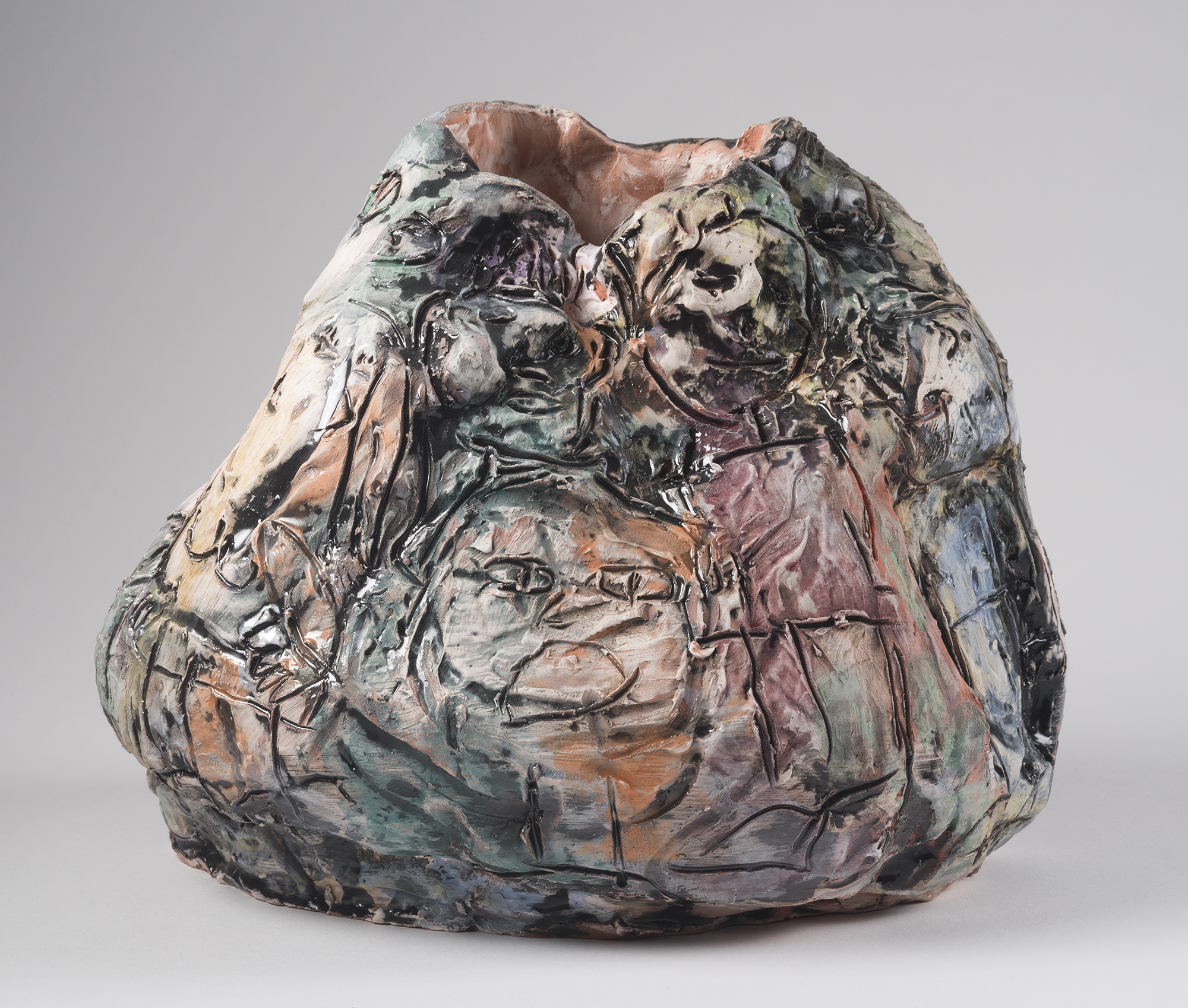 """Bag O' Goodies and Baddies (view 2), 2015, 14""""x14""""x14"""", Earthenware with Underglaze and Majolica"""