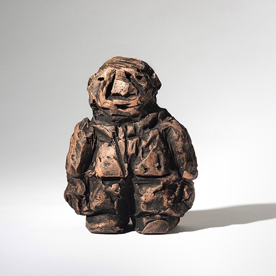 "Dirty Little Businessman, 2014, Ceramic, 6""x6""x2"""