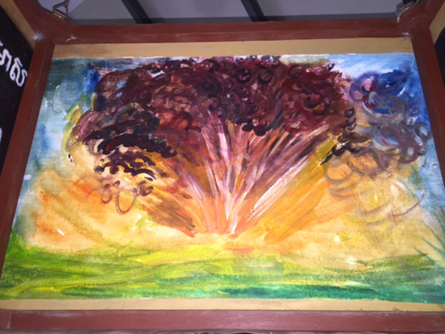 Visited the Landmine Museum - Image painted by a young boy whose leg was recently blown off by a land mine.