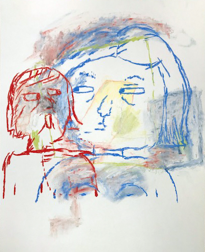 """""""That Other Self"""", 2018, 30"""" x 22"""", chalk pastel on paper"""