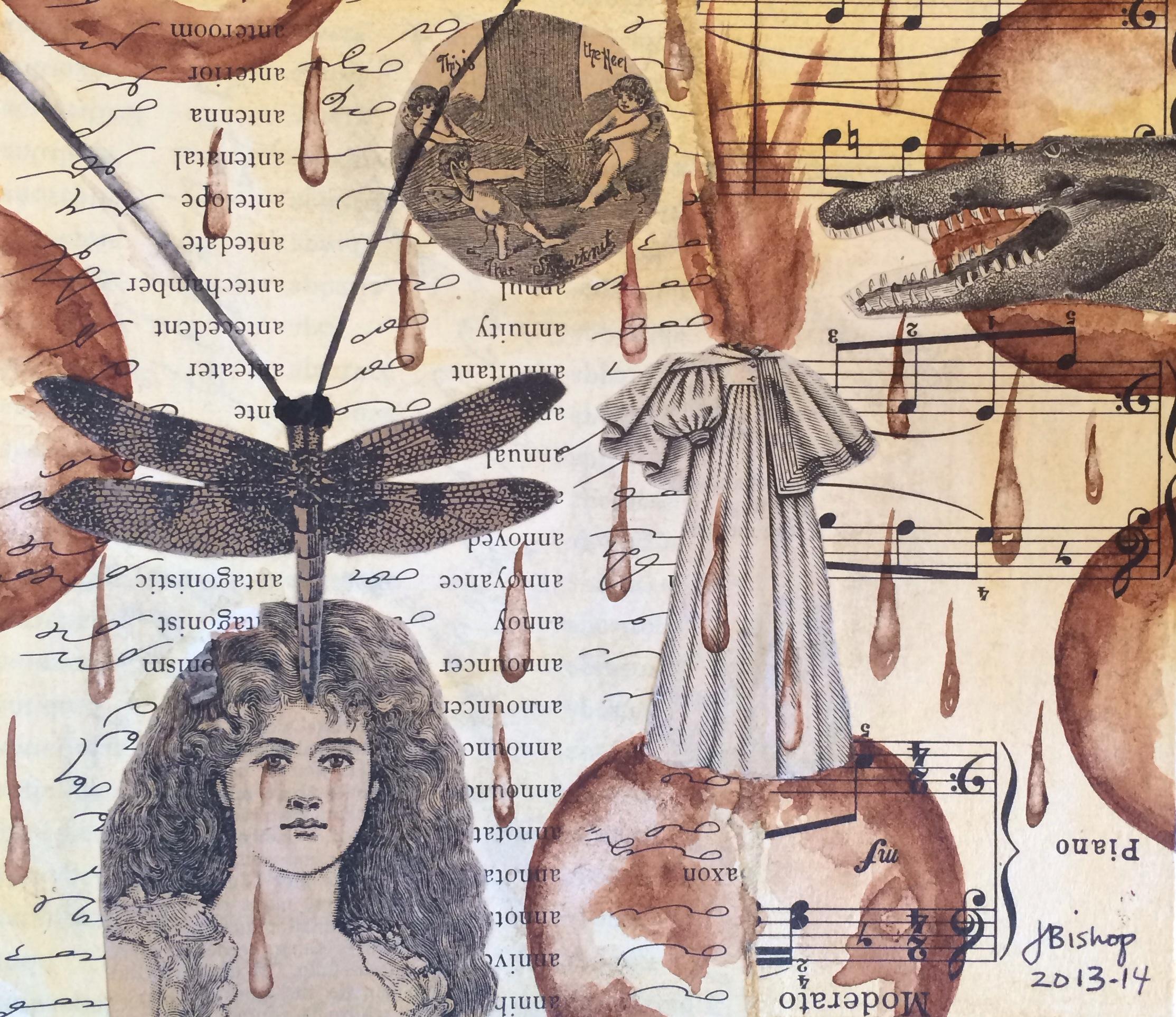 """Moderato."" Jacqueline Bishop. Watercolor over collage. Value: $800.00."