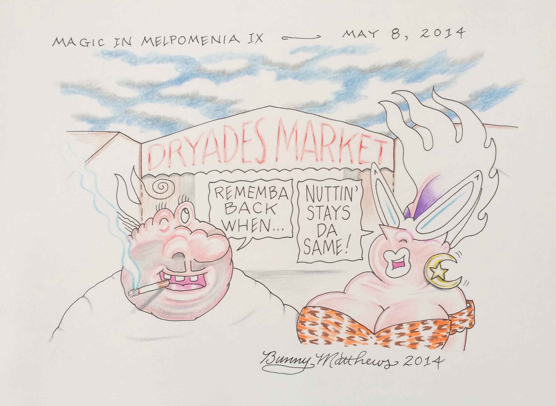 """Dryades Market."" Bunny Mathews. Color pencil on cardstock. 14""w x 9""h. Value: $250.00."