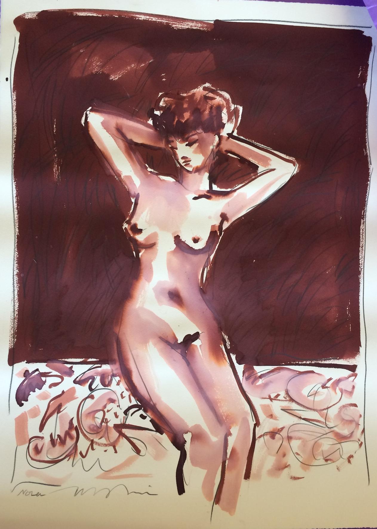 """""""NOLA."""" Tim Trapolin. Sepia wash and graphite. 22.5″ w x 30″ h. Value: $2,800."""