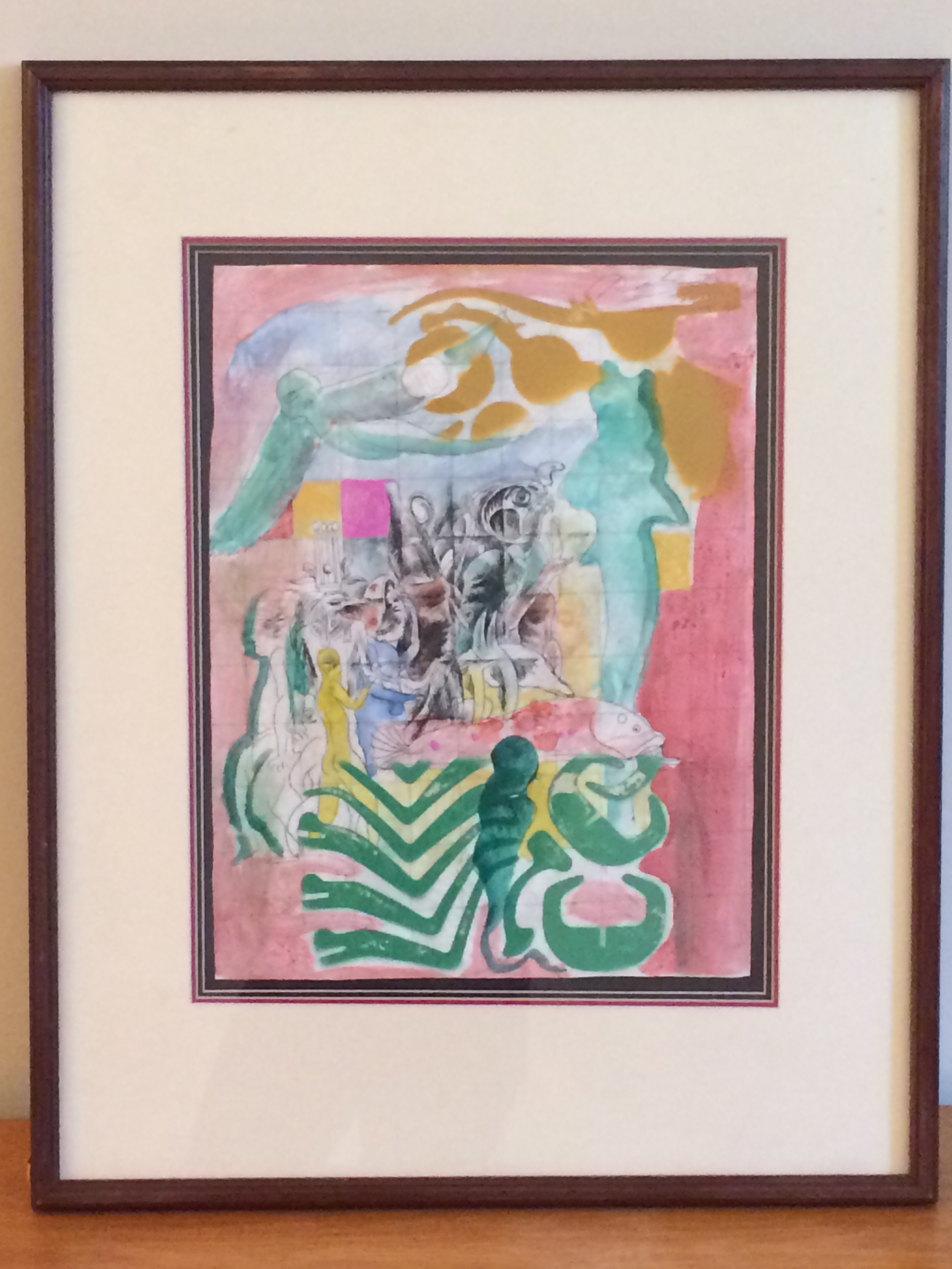 """""""1989 Egyptian & Grid."""" Noel Rockmore. Watercolor and Pen. 13″ w X17″ h, framed. Value: $1,500."""