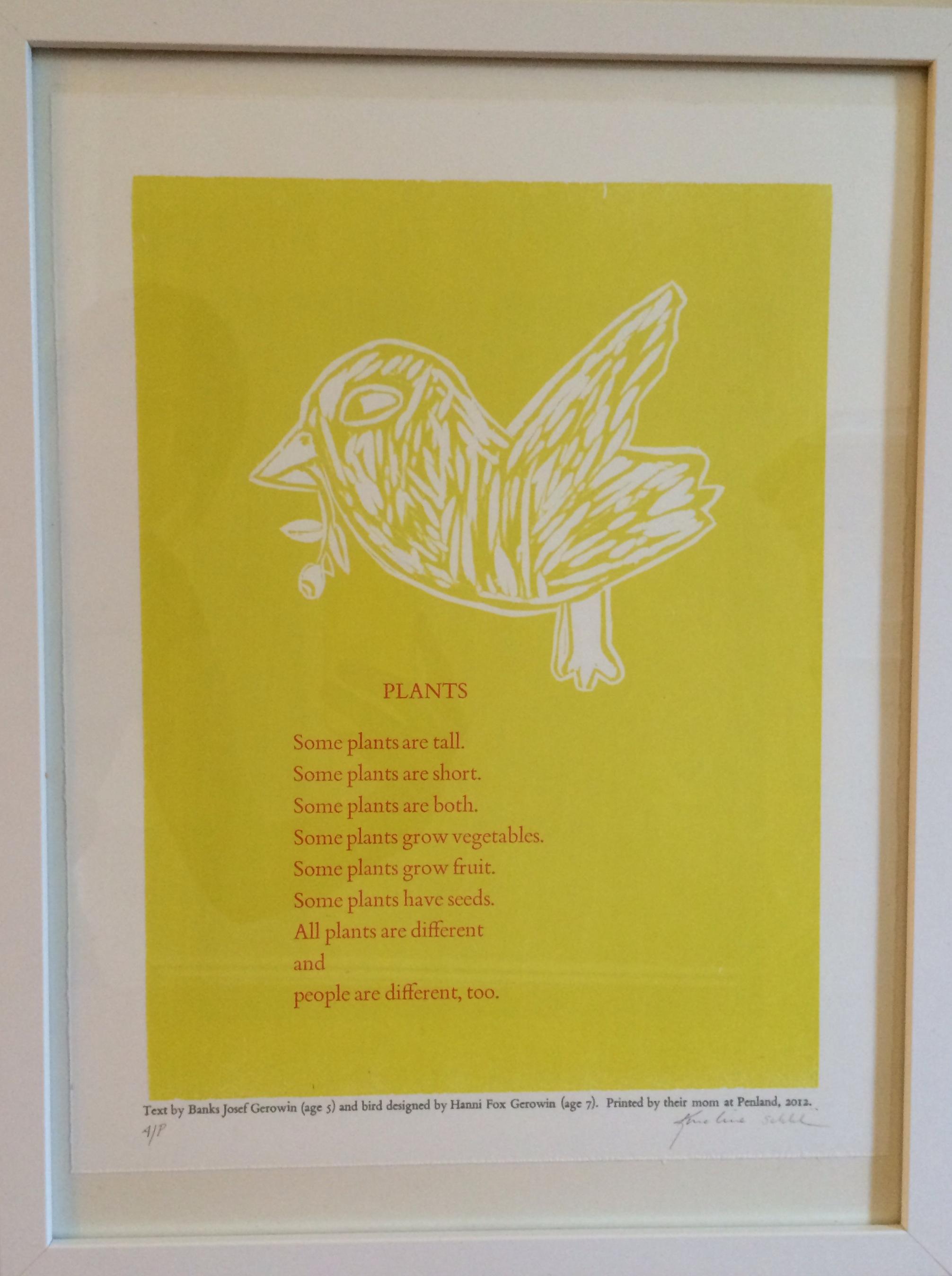 """""""Nature."""" Karoline Schleh. Woodcut print, 12.5"""" X 16.5"""" framed. Value: $250.00."""