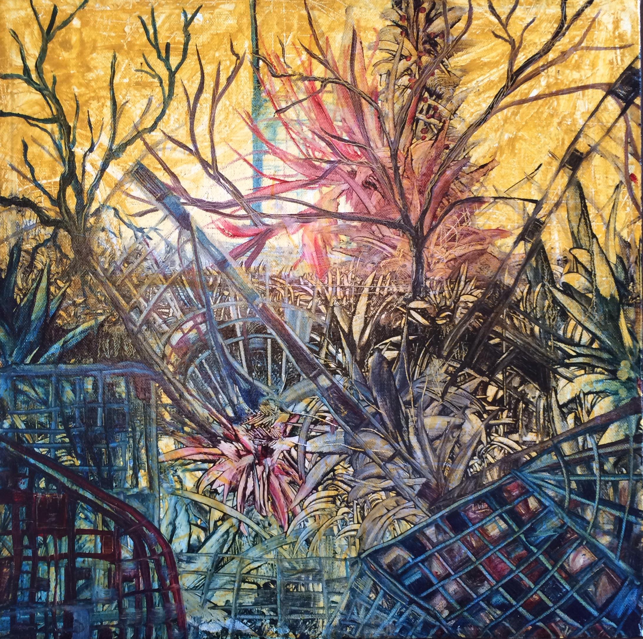 """""""Uninhabited."""" Sergio Alvarez. Oil on canvas. 14""""w x 14""""h. Value: $500.00."""