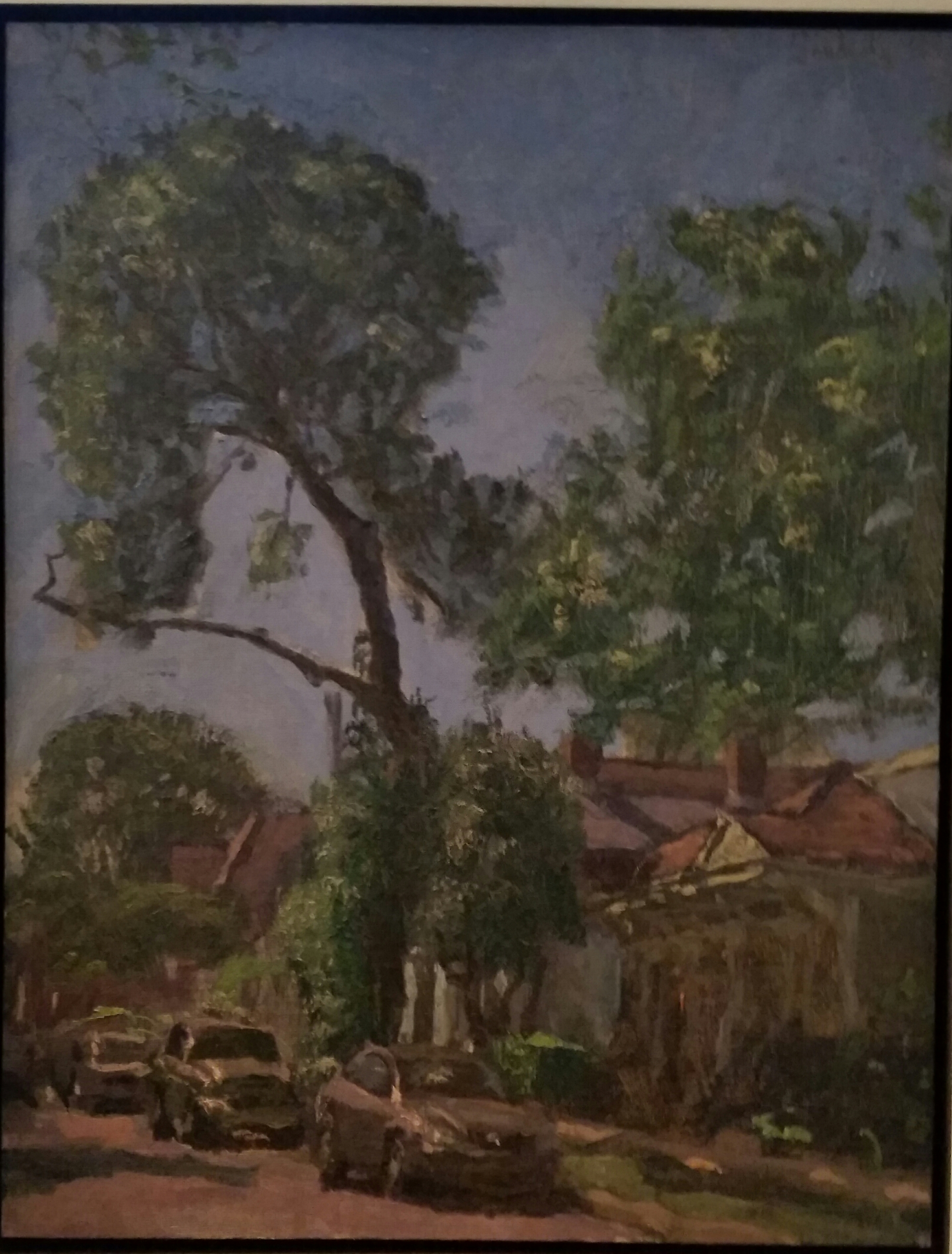 "Phil Sandusky, ""Gnarly Pine, Houses and Cars"", Oil on canvas, 18""x14"", value: $2400"