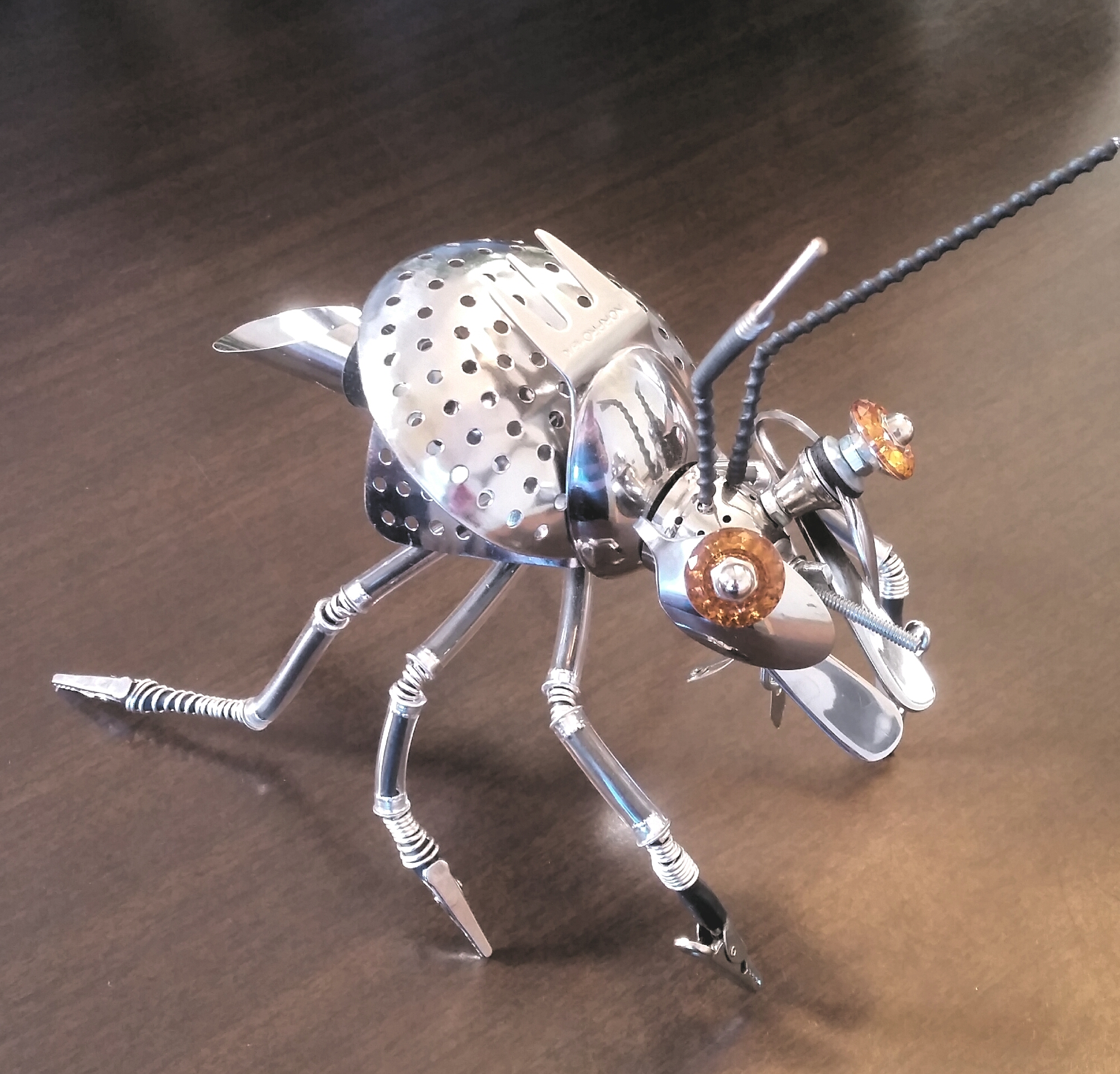 Andrew Bascle, Large Bug Sculpture, stainless metal, value: $250