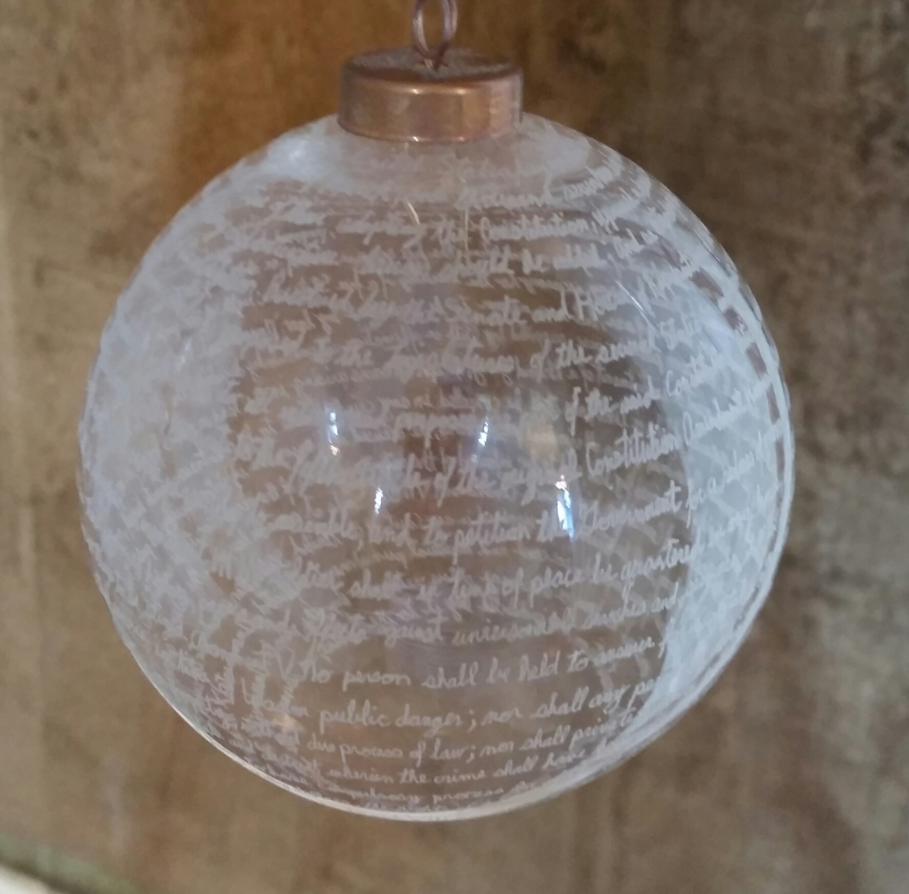 Devon Franceschi, Hand etched glass ornament, value: $250
