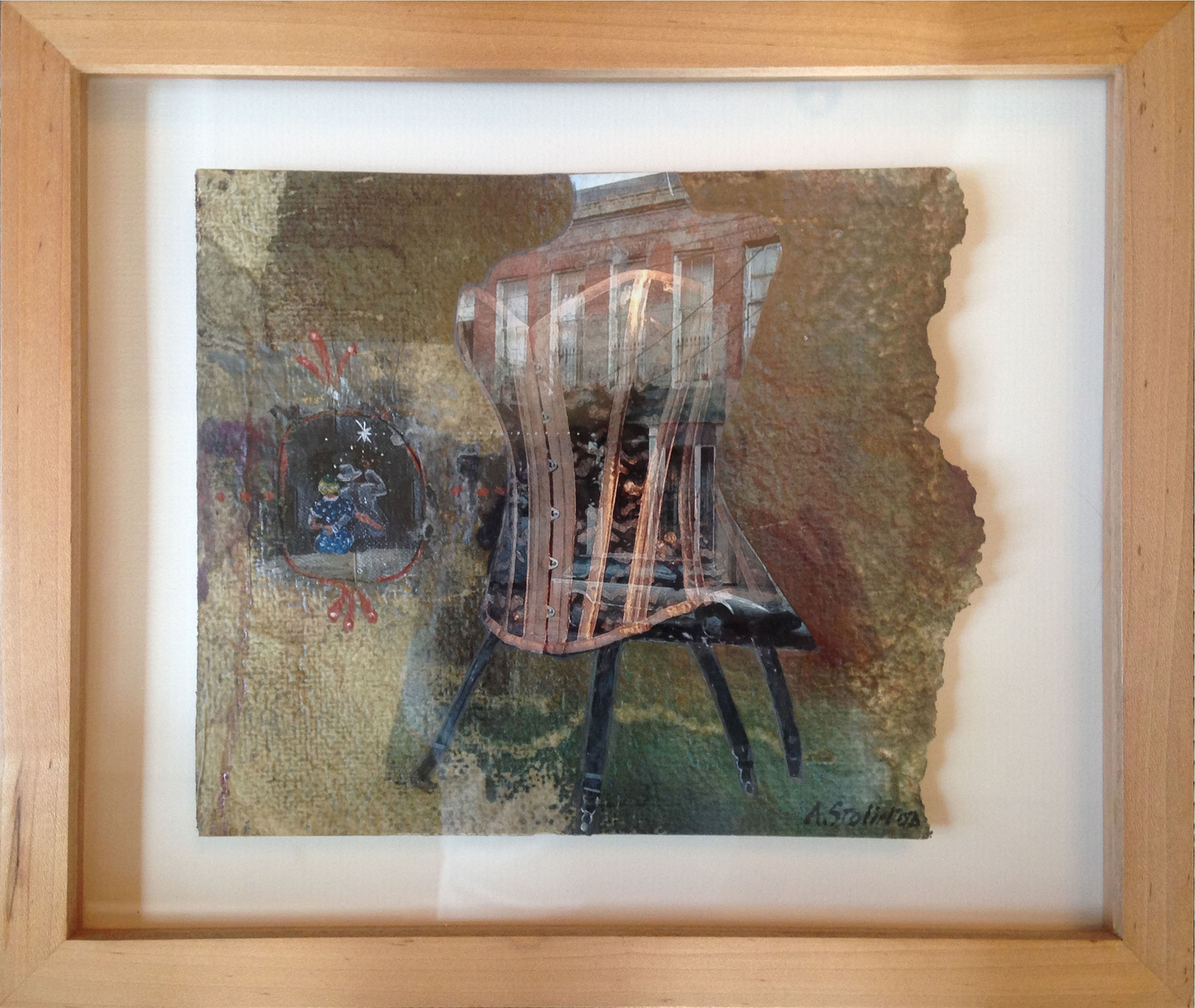 """Framed collage by A. Stolinoa, mixed media, 10.5""""X12.5"""""""