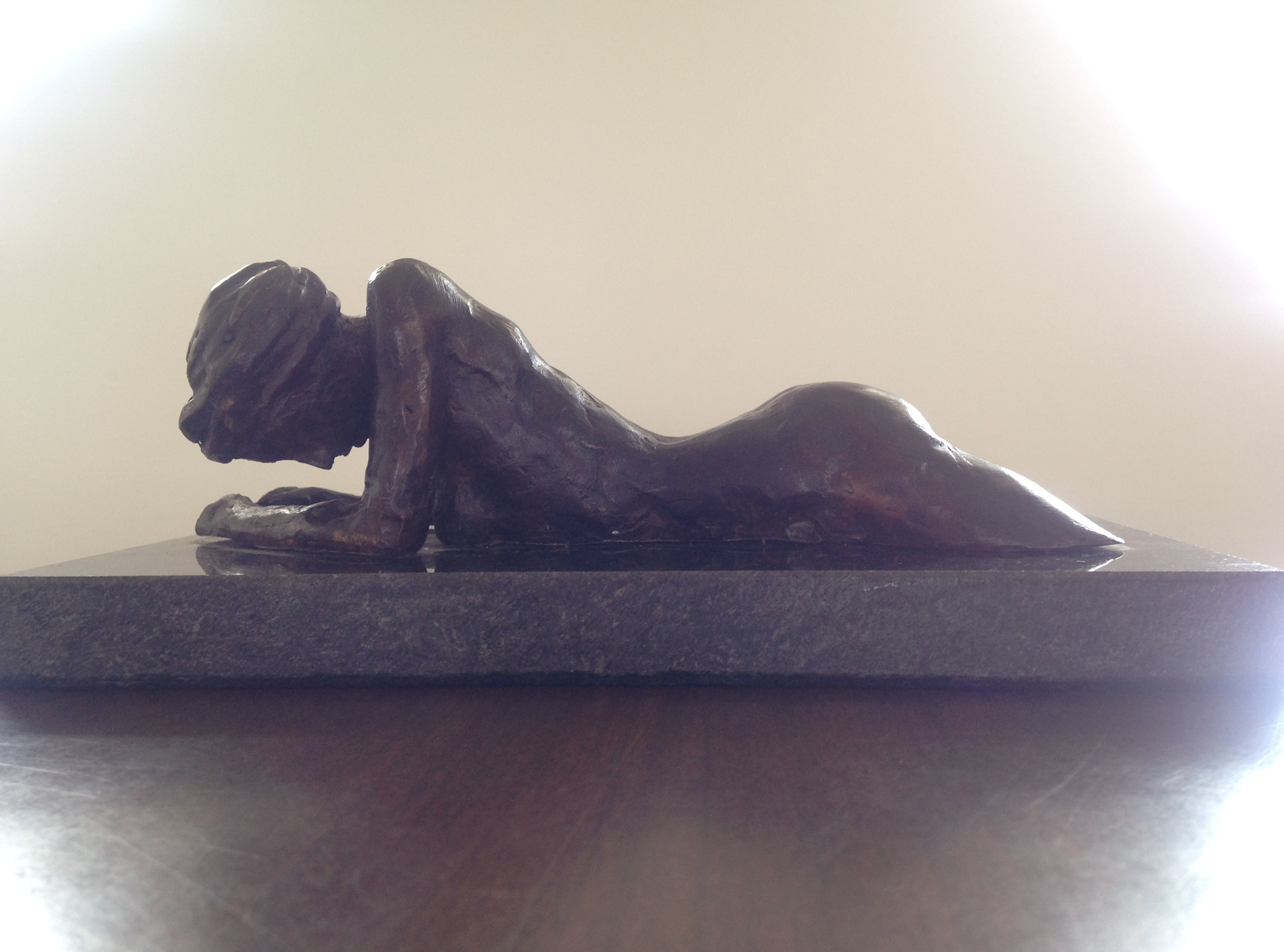 """Nude sculpture by Thomas Bruno, bronze, 5.5""""X10"""" base"""