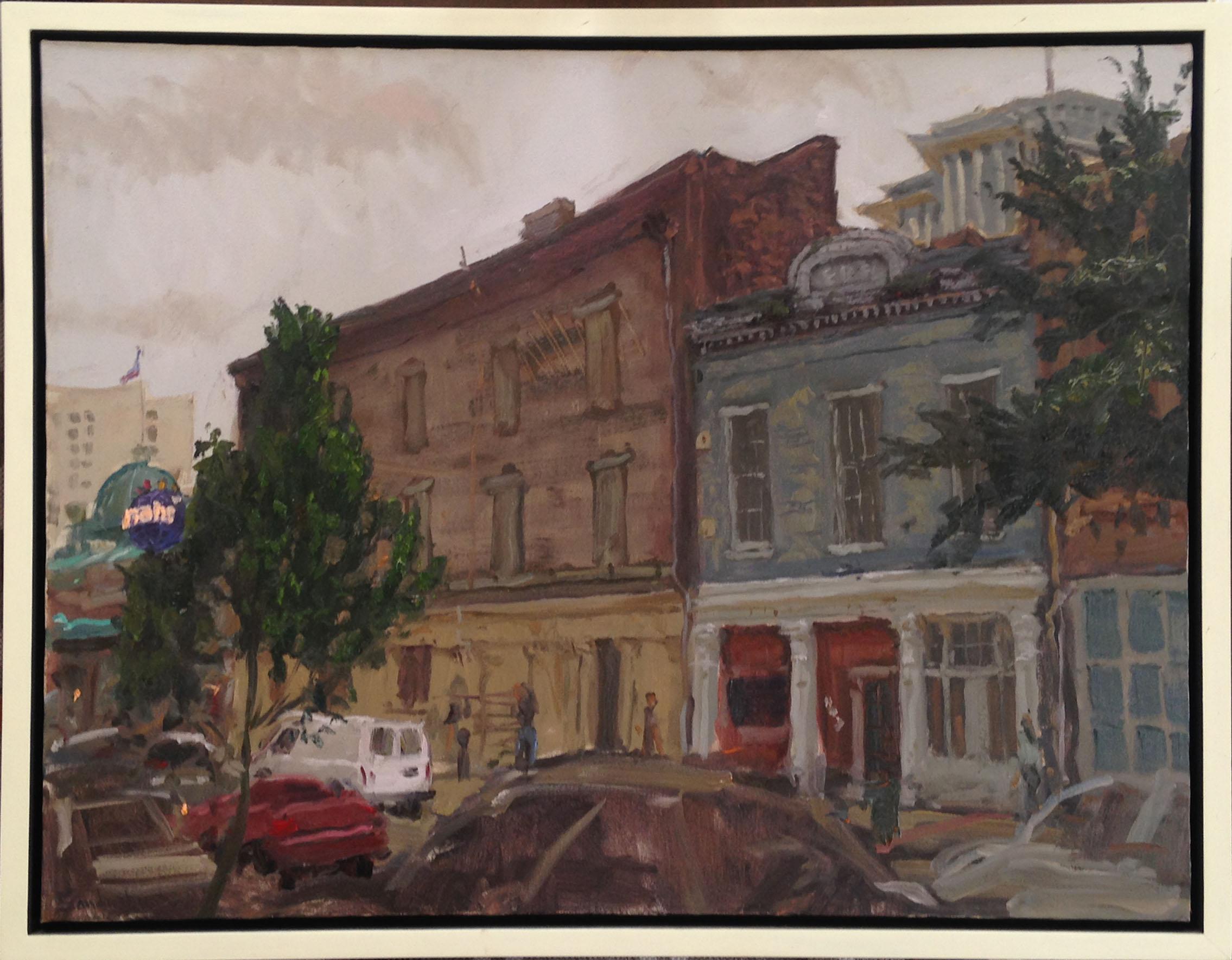 """In the Wake of Harrah's"" by Phil Sandusky, oil on canvas, 22""X28"", value: $2,750"
