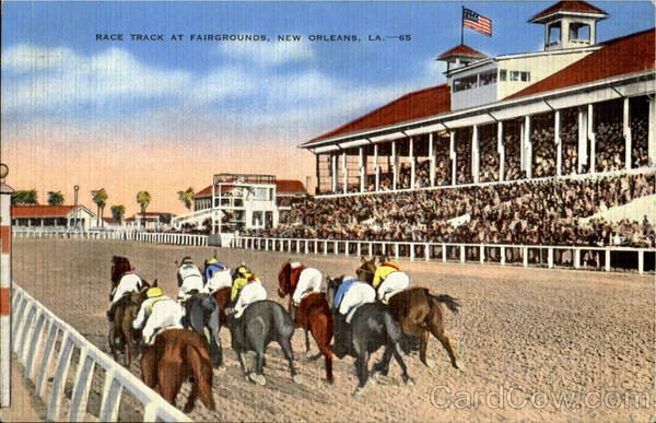 """A Day at the Races at the New Orleans Fairgrounds, held in the """"Master Derby"""" Suite, including lunch & beverages for a party of twelve. A race to be named after the Host and to include trophy presentation to the winning horse and jockey (picture included). Owner of the suite will contribute a $500.00 food and bar tab for the event. value: $1,000"""
