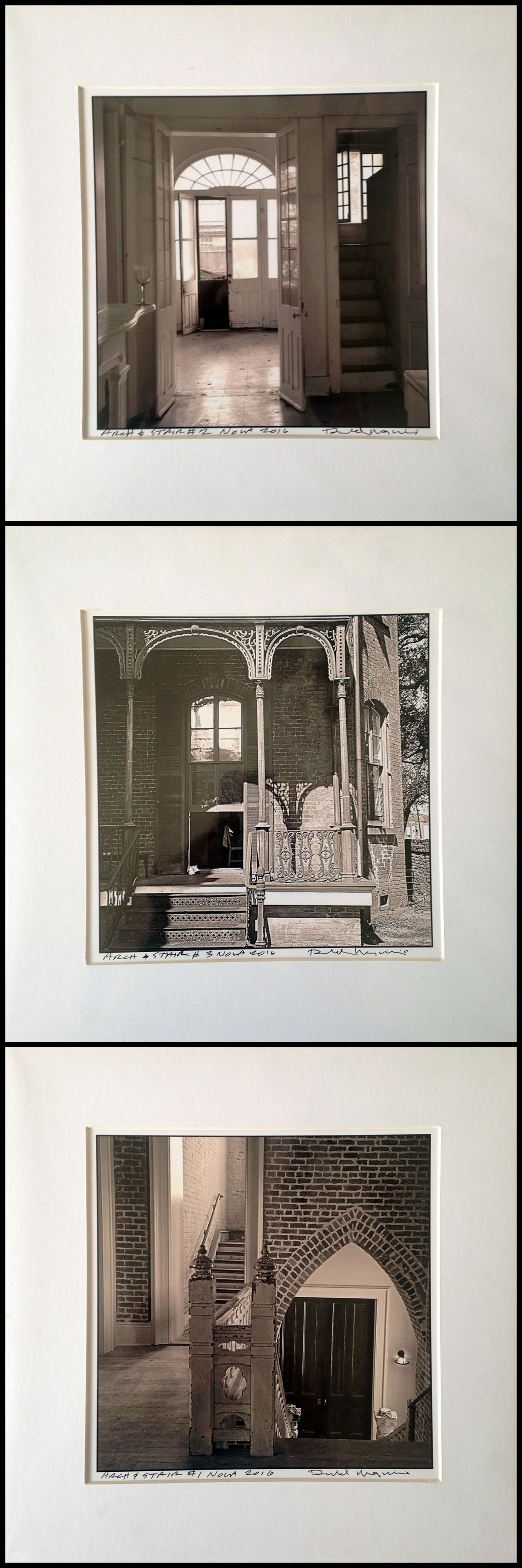 """Three b&w photographs of New Orleans architecture by Donald Maginnis, 12""""X12"""" matted,value: $135"""