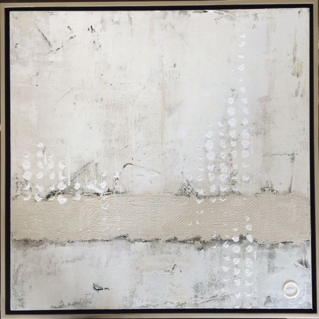 """""""White on white"""" by Vicki Lee, acrylic on canvas framed, 24""""X24"""", value: $500"""