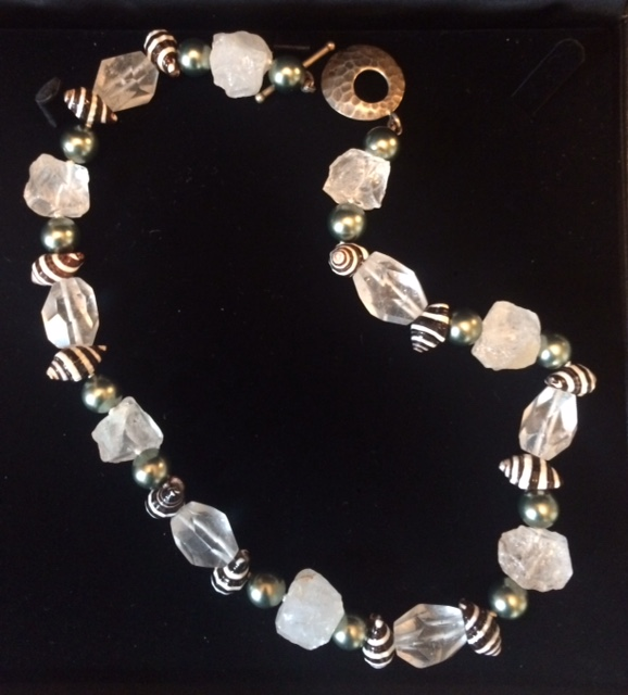 Rock crystal, grey Mallorca pearls and zebra shells with sterling silver clasp , value: $375, donated by Objets Plus
