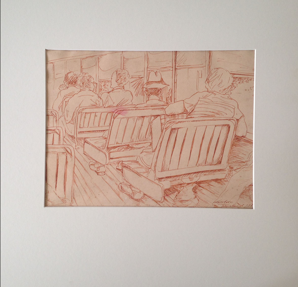 """Two drawings of scenes on the St. Charles Avenue streetcar by Kathleen Trenchard, 16""""X16"""" matted, value: $300 (Donated by Louis & MaryLen Costa)"""