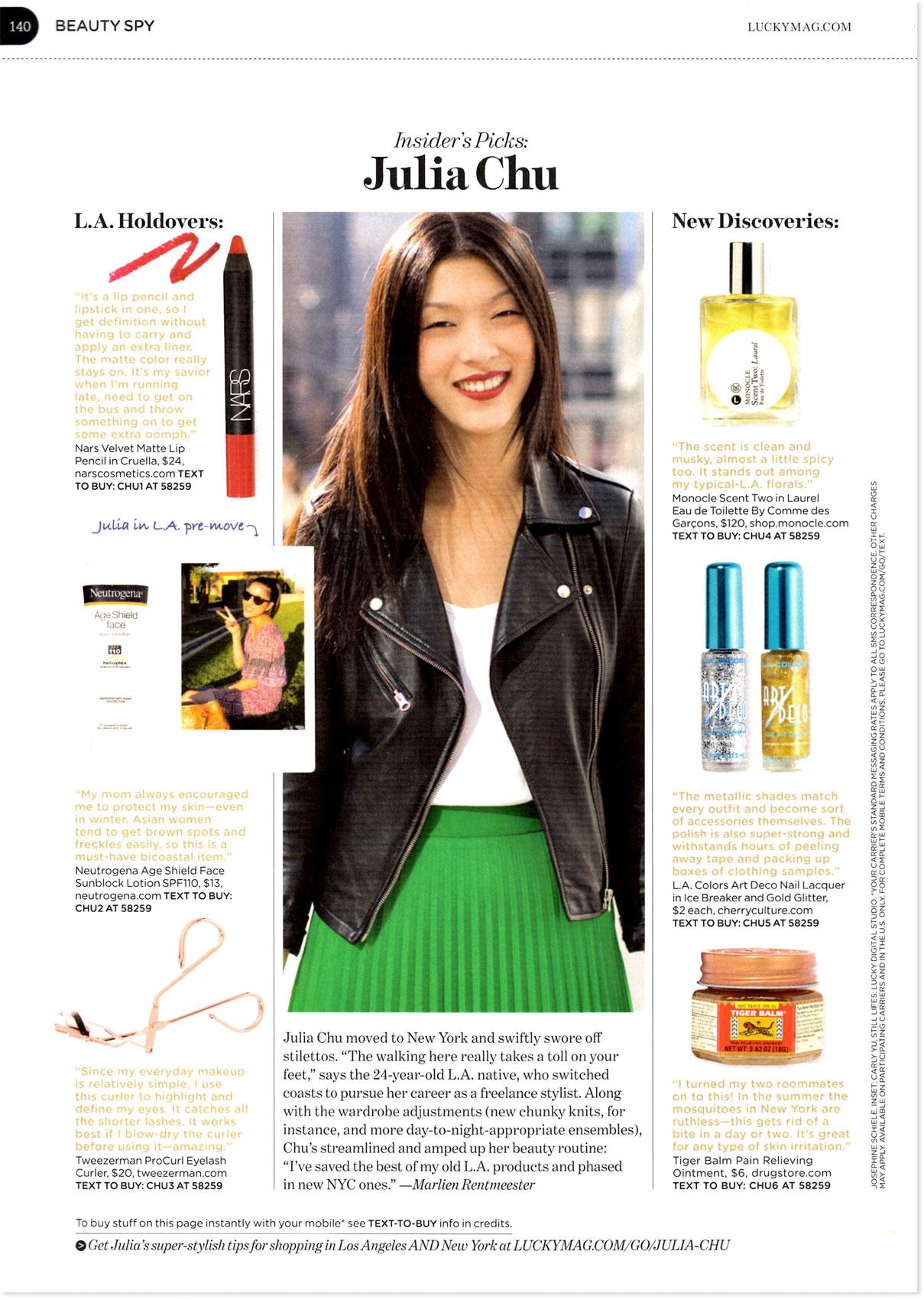 Julia Chu for Lucky Magazine , January 2012  Photo by J osephine Schiele