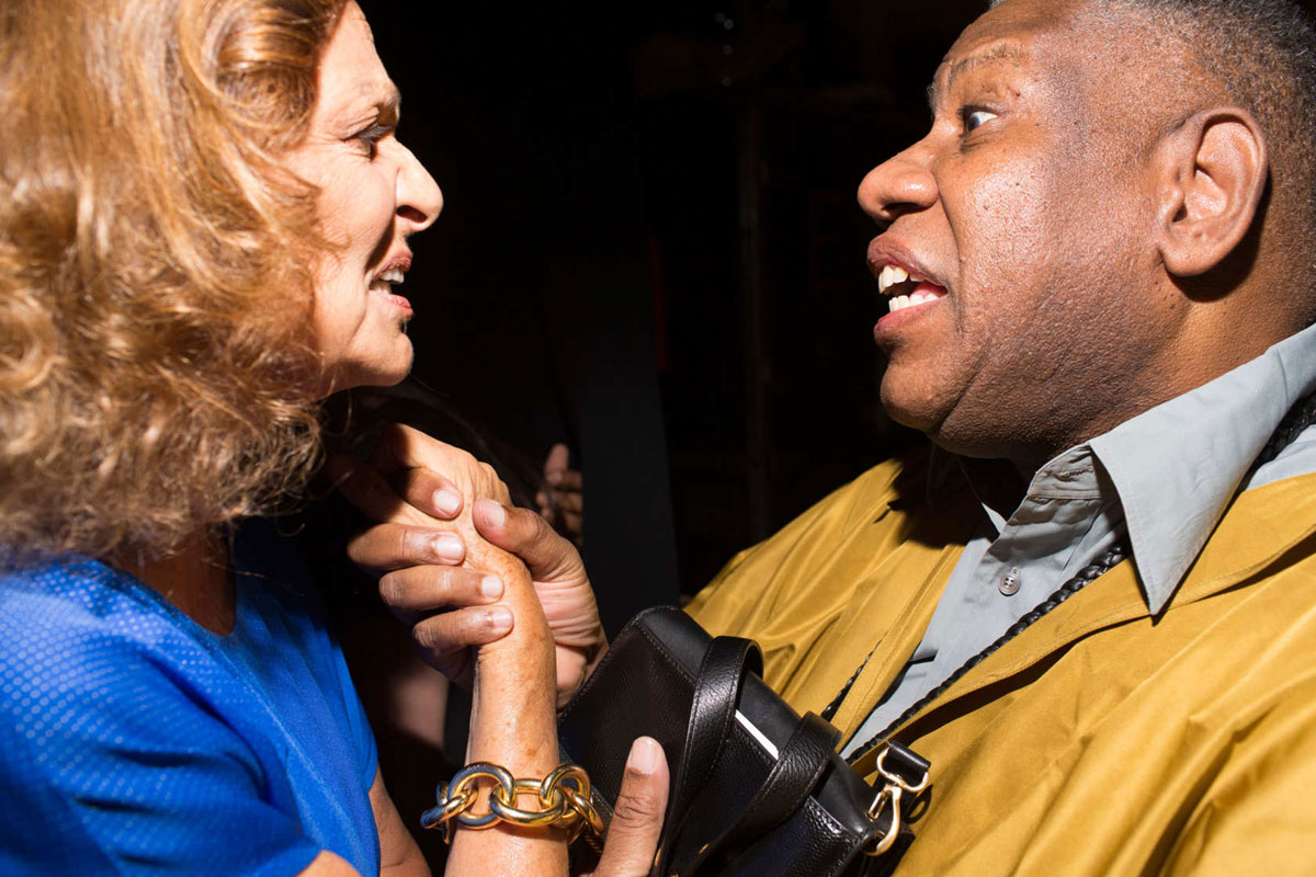 Diane von Furstenberg and André Leon Talley at Diane von Furstenberg, NYFW SS14   Photo by   Landon Nordeman