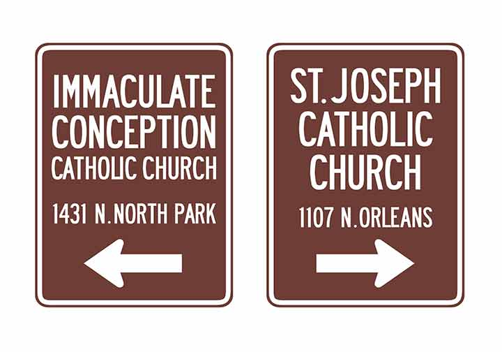 "Rendition of proposed ""Trailblazer"" neighborhood directional signage."