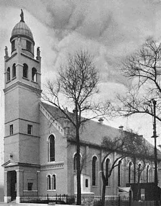 The original church stood on the site of the current parking lot (click to enlarge).