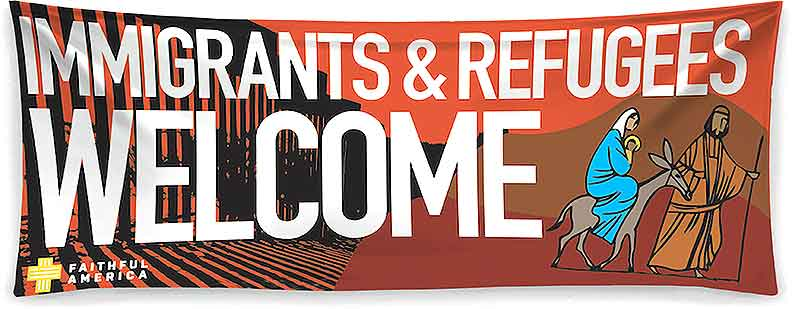 National Migration Week banner that will be hung outside Immaculate Conception and St. Joseph churches.