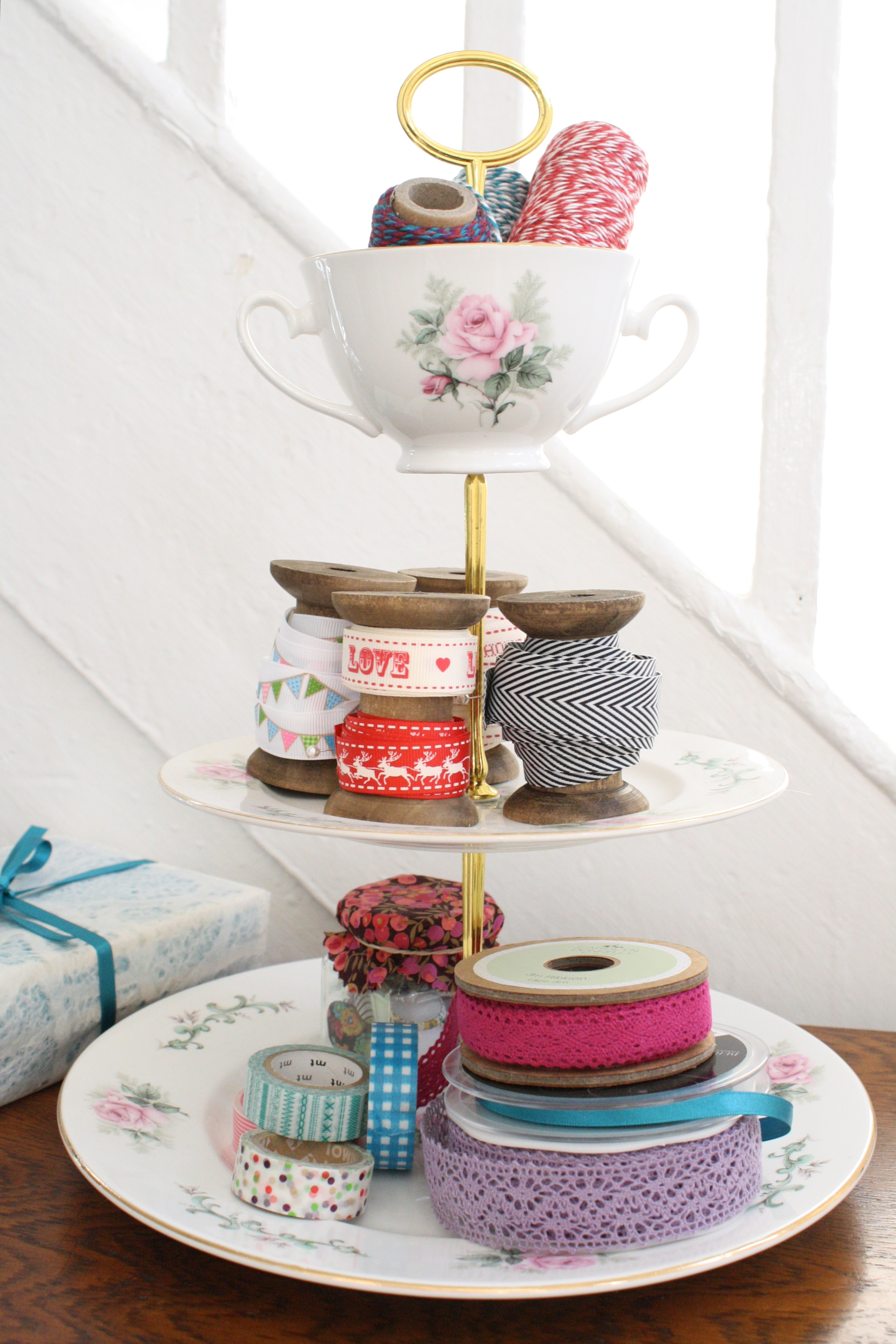 Large three tier vintage cake stand with cup.jpg