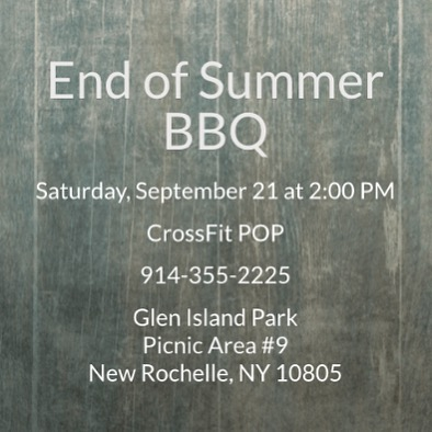END OF SUMMER BBQ  Join us on Saturday, September 21st at 2pm for our annual End of Summer BBQ. Burgers and hot dogs will be provided; the rest will be potluck style!  Members are welcome to bring friends and family.  For details and to RSVP, please see here: http://evite.me/ZfcPsHkVkY