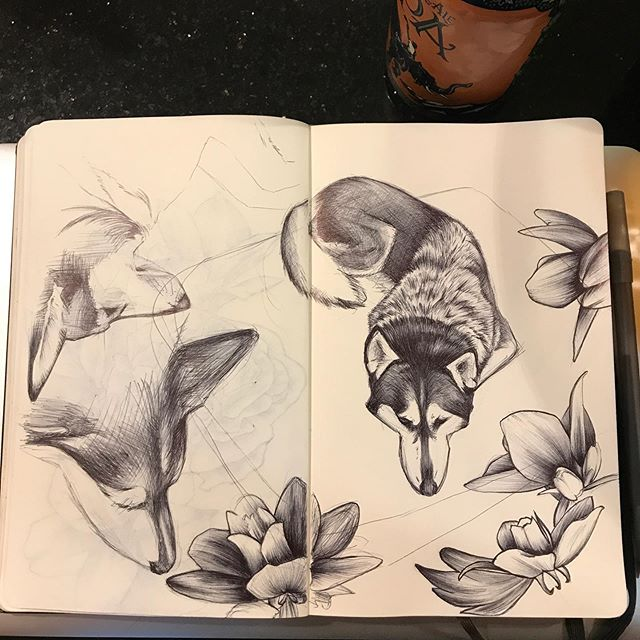 I guess it's #inktober so here's some dog flowers 🐺🖊 I'm in the middle of moving right now so these #inktober2019 posts will probably be few and far between #ballpointpen #pen #drawing #illustration #sketchbook #moleskine