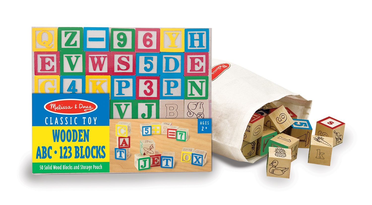 Melissa & Doug Deluxe Wooden ABC/123 Blocks Set With Storage Pouch