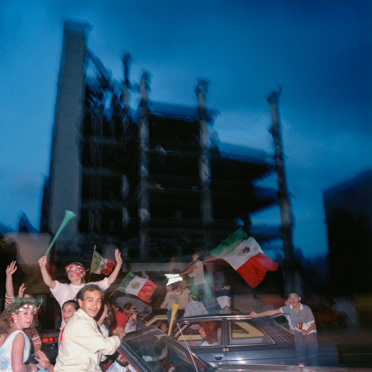 Earthquake Ruins and Soccer Celebrants, México City 1986