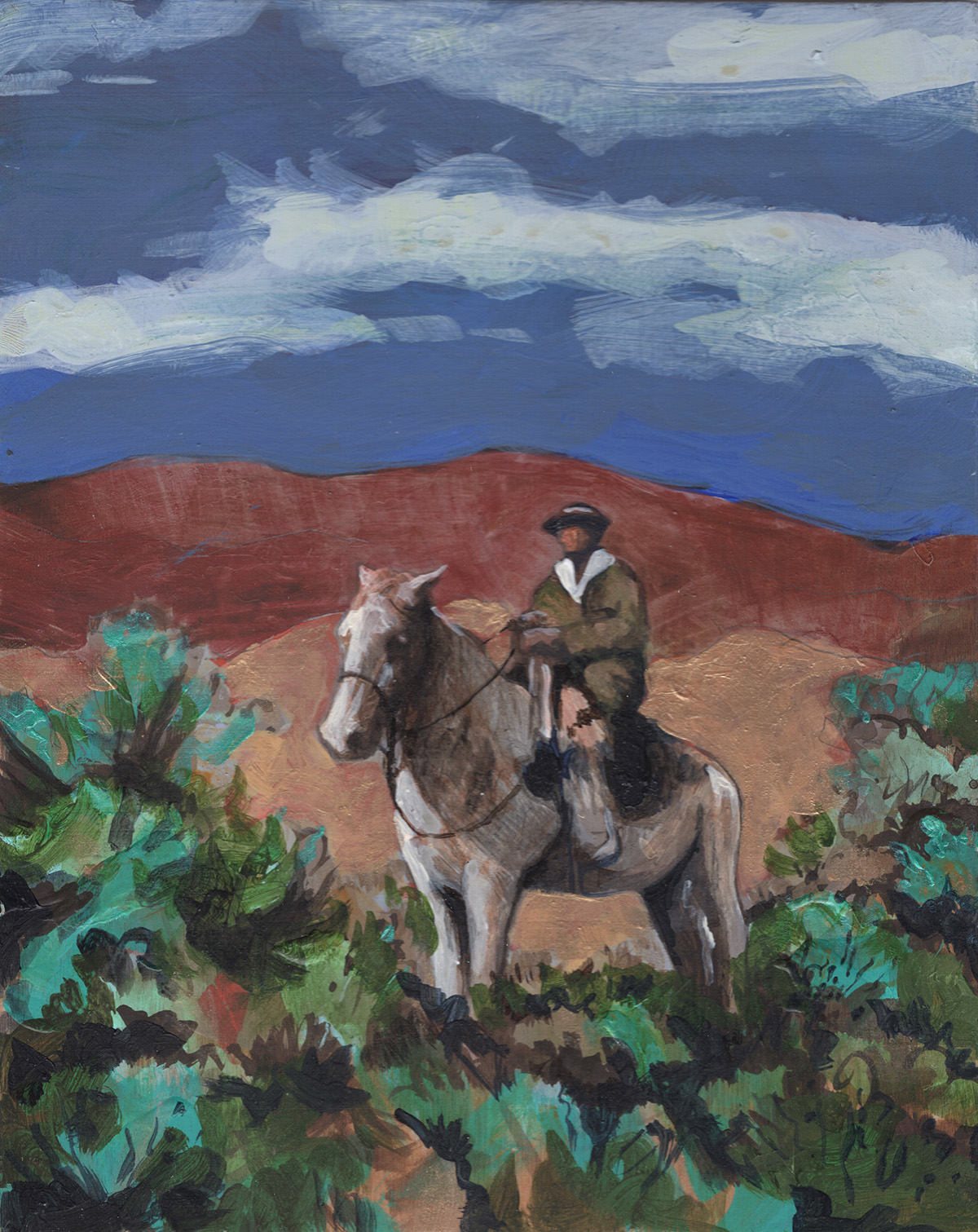 """#161   2017 """"Alan in Pagosa"""" acrylic on panel 8""""x10""""    sold"""