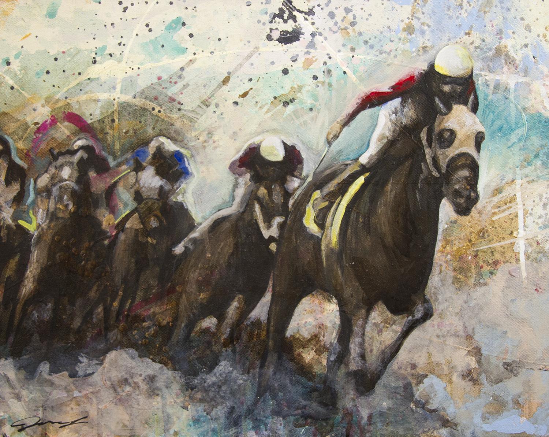 """#118 2015   Race III   16""""x 20""""   acrylic on canvas    Sold"""