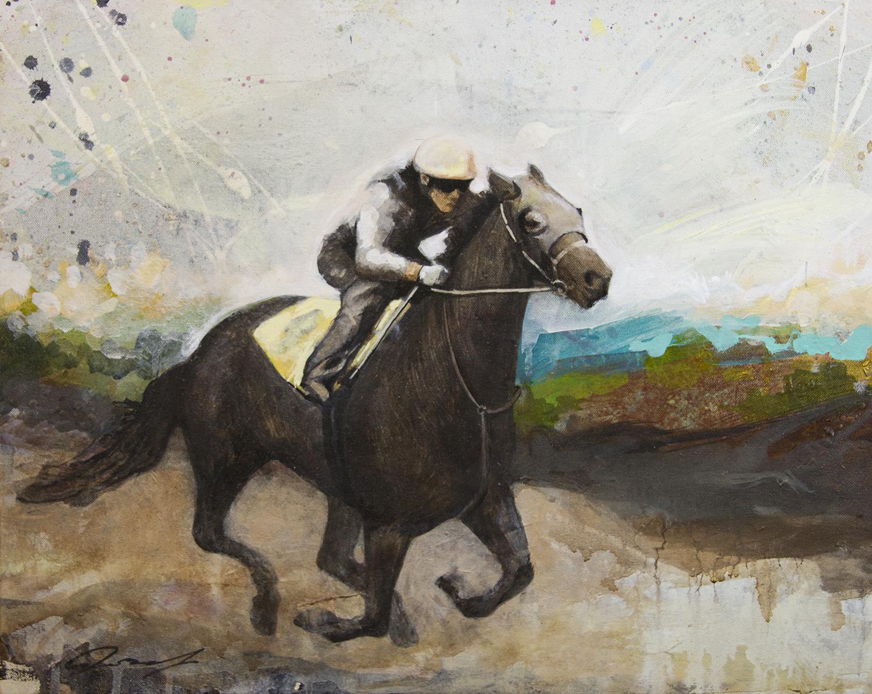 """#117  2015    Race II  16""""x 20""""   acrylic on canvas   Sold"""
