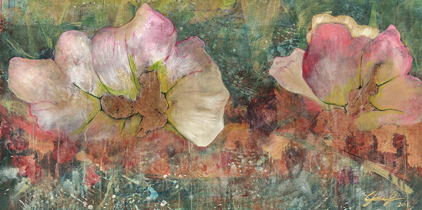 #15  2011 Pink Flowers  29″x 58″ acrylic & gold-leaf on canvas.