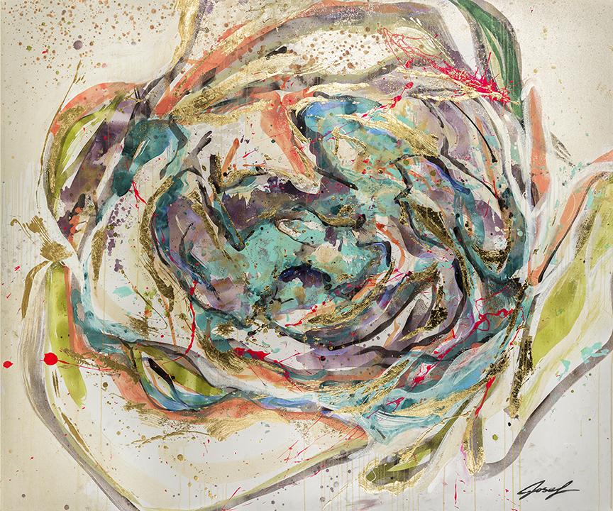 #18  2012 On a whim II  60″ x 72″ acrylic & gold-leaf.