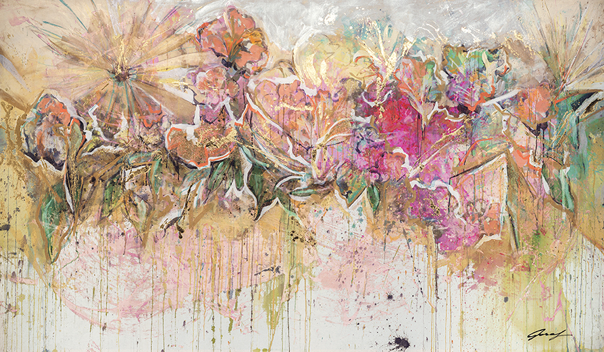 #19 2012 Essence of Floral I 56″ x 96″ acrylic on canvas.