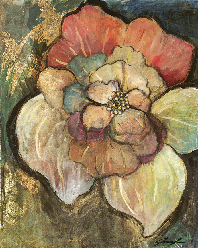 "#23  2012 Taos flowers in June II  24"" x 30"" acrylic & gold-leaf on canvas"