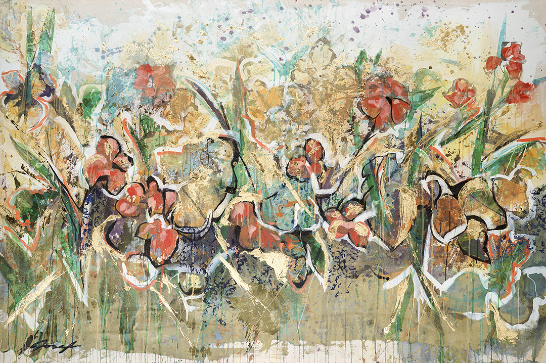 """#31  2012 Golden pastures  56""""X 84"""" acrylic & gold-leaf on canvas."""