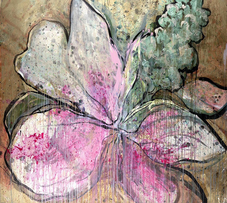 "#37 Okie Wild Flower 61″ x 68""acrylic & gold-leaf on canvas."
