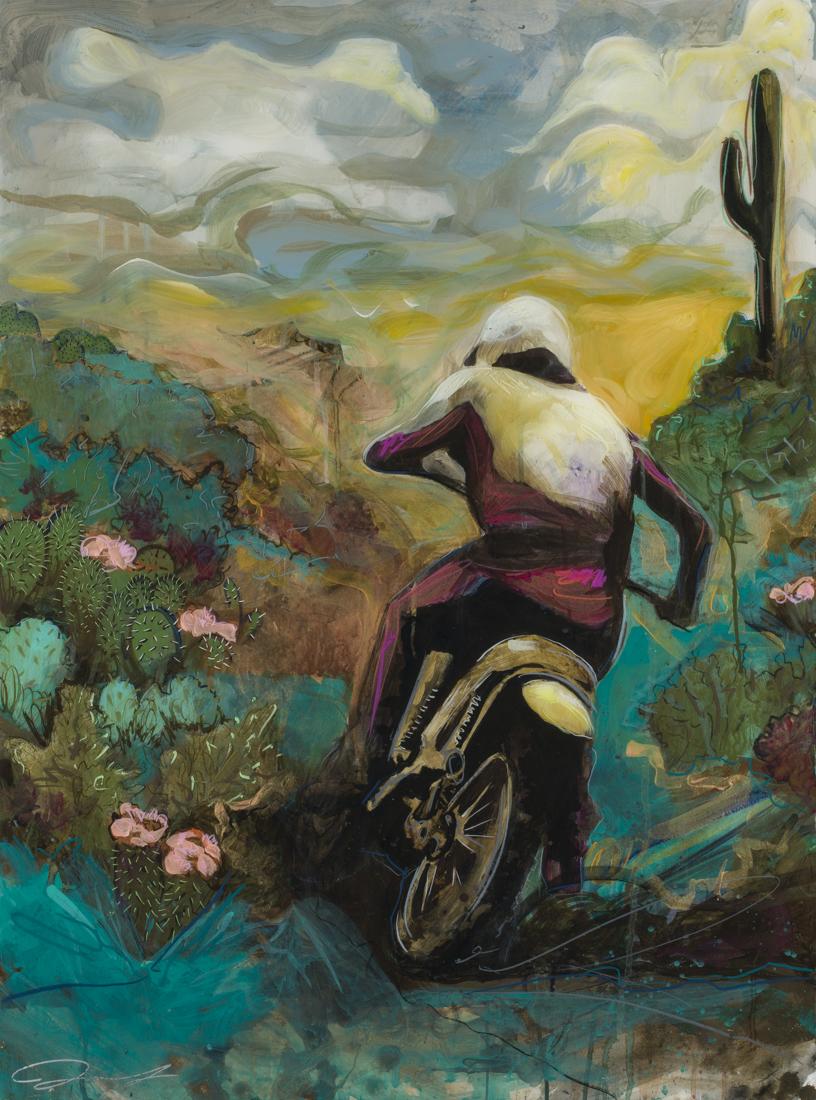 """#152 2017 """"Desert Rider I"""" oil/mixed medium 23""""x 31"""" $2500"""