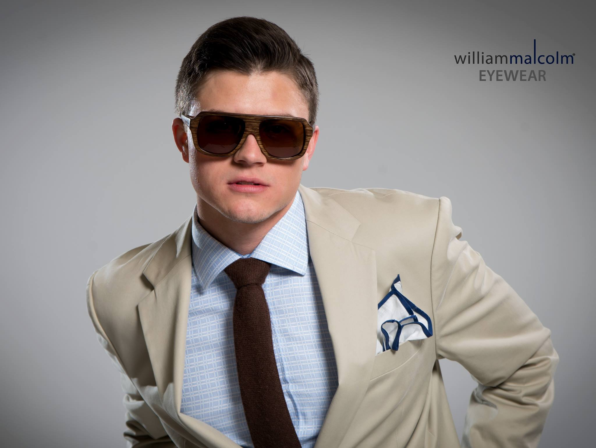 William Malcolm Luxe Collection Detroit Bespoke Custom Suit Wood Eyewear
