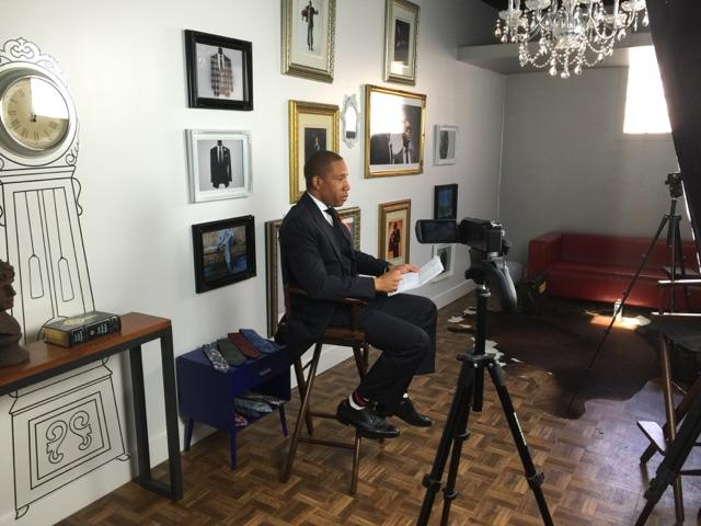 Fashion Designer William Malcolm Being Interviewed For Detroit Luxe Magazine.  Detroit Bespoke Suits. Custom Suits Detroit