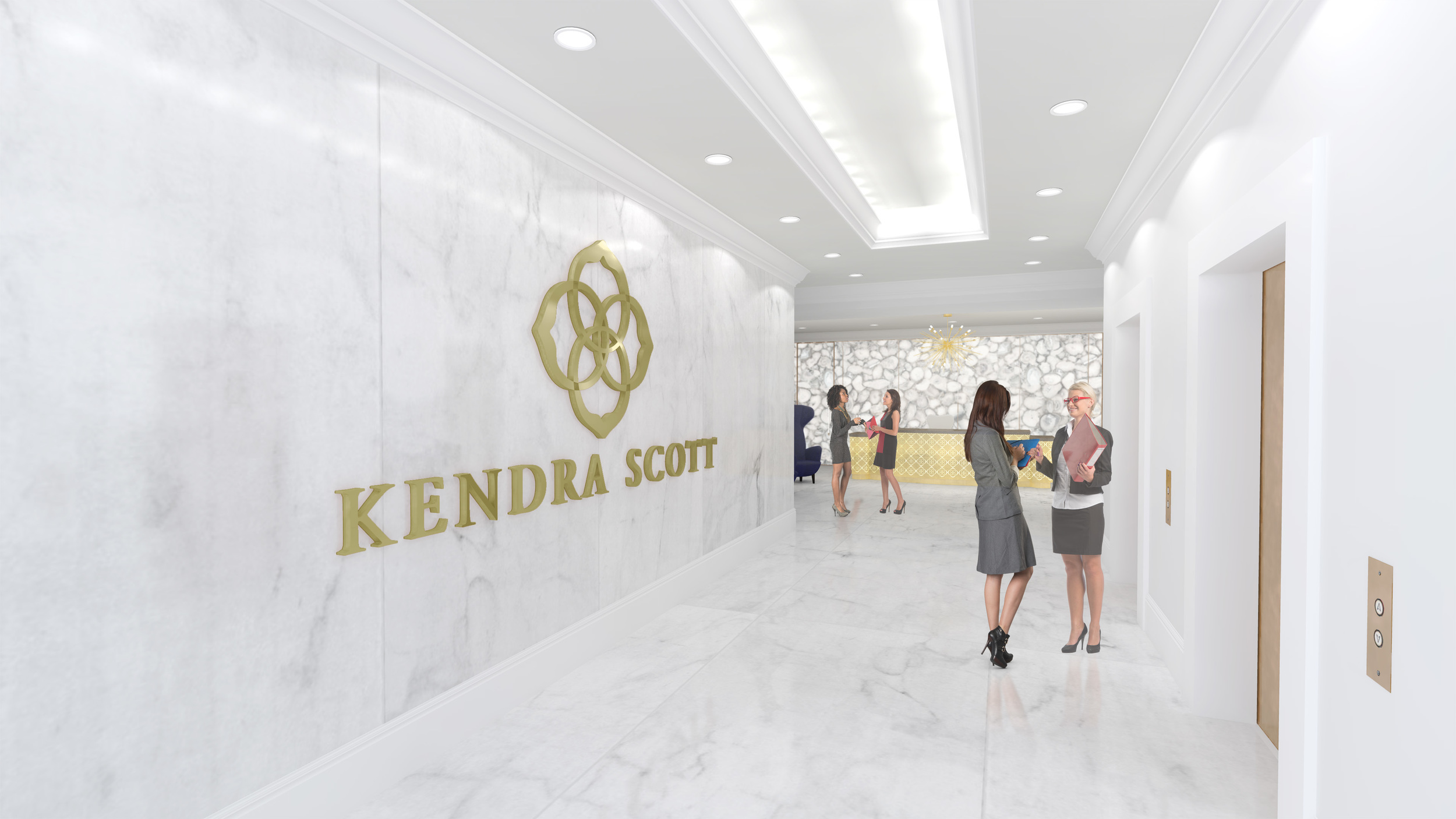 Kendra Scott's corporate headquarters is designed to reflect her particular aesthetic sensibilities. Designers studied aspects of her personal life - such as her home - to determine the ultimate ambiance of her new corporate setting on North Lamar Boulevard.