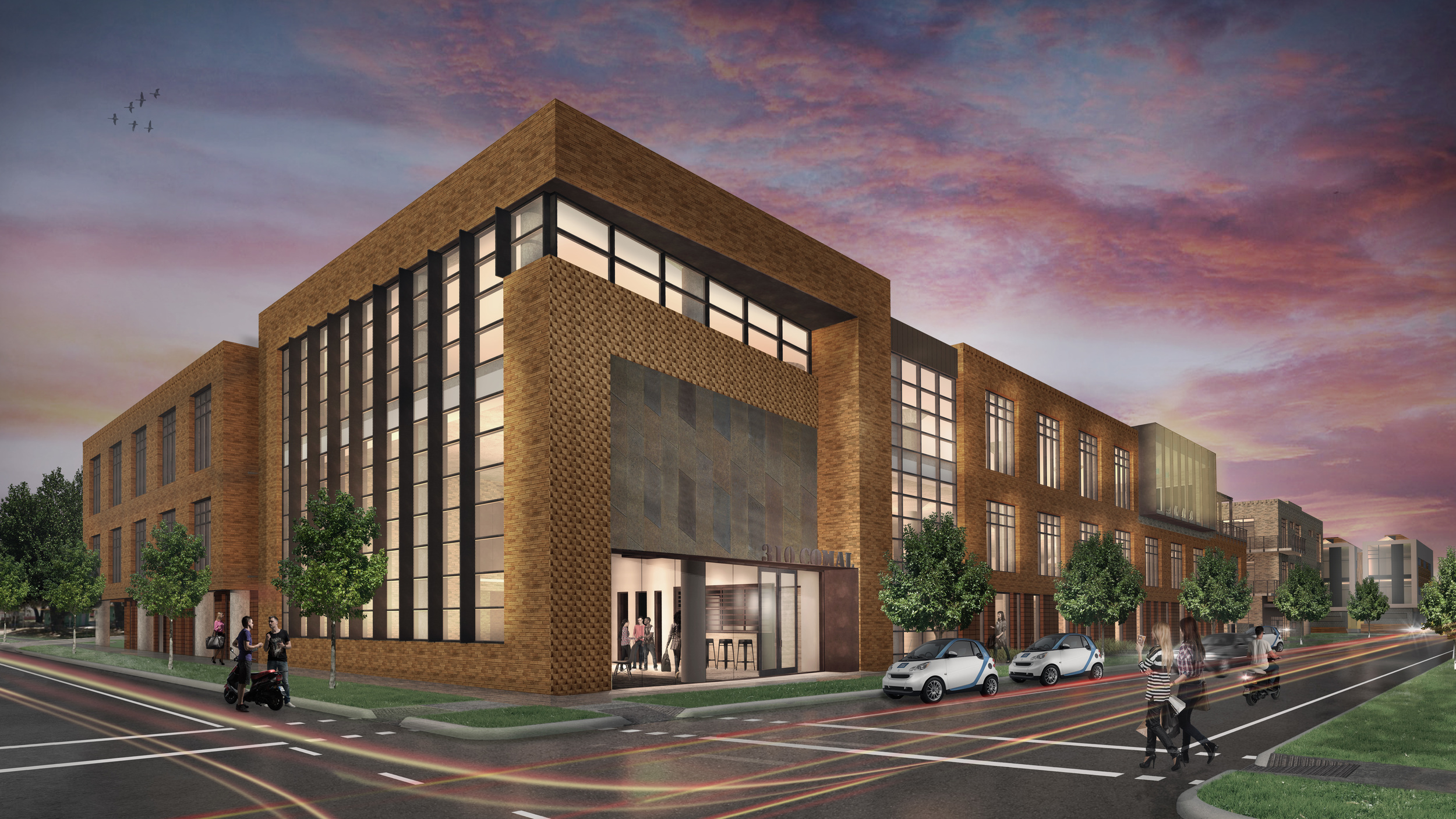 The latest rendering from Sixthriver Architects presents an interesting interplay of windows and bricks that captivate the eye, especially at twilight.