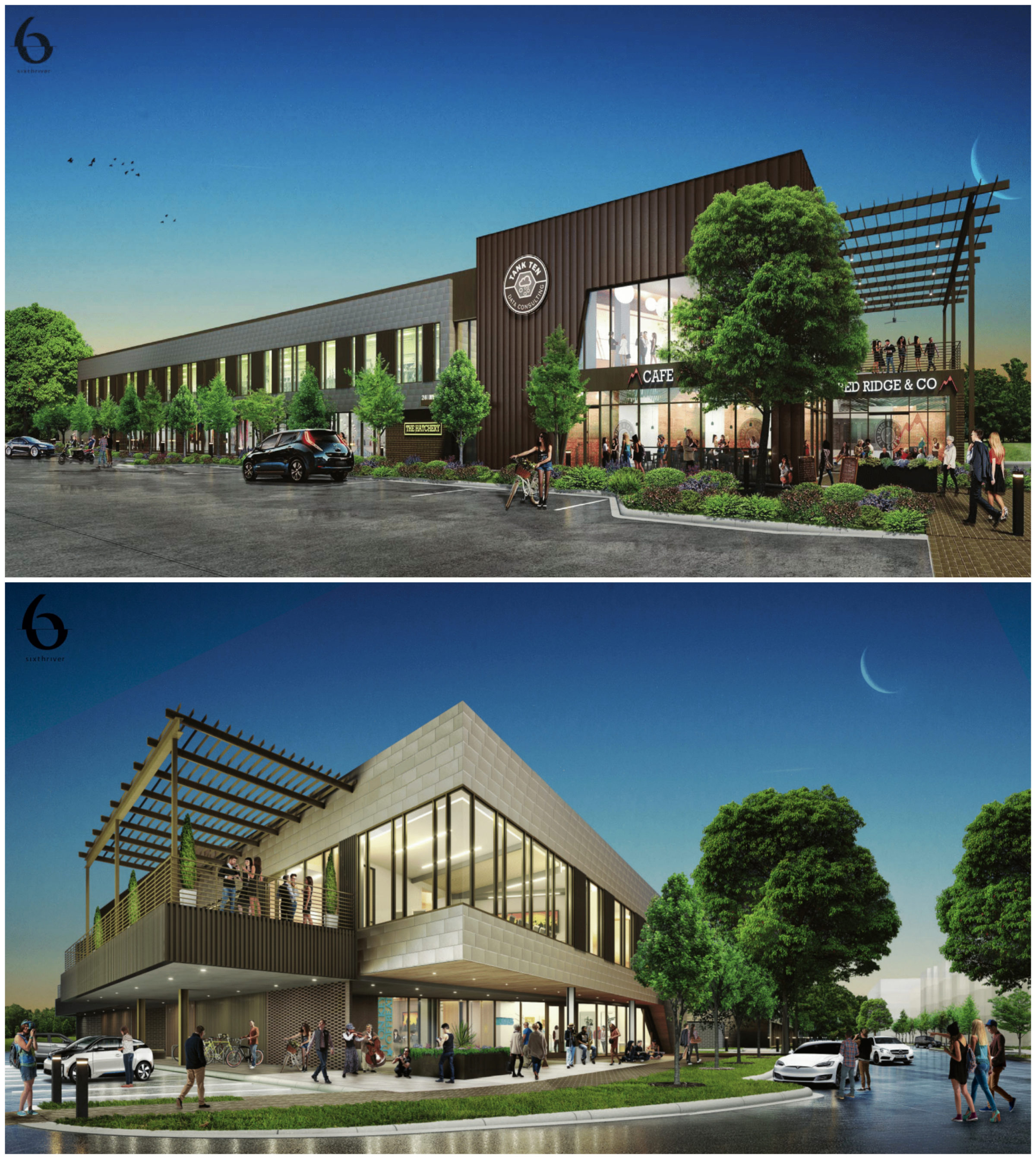 """Concepts for the Phase II mixed-use commercial buildings labeled on the Hatchery map as """"D"""" (top) and """"E"""" (bottom), located around the extended branch of Navasota Street. Images: Sixthriver Architects / SSG Momark Collaborative"""