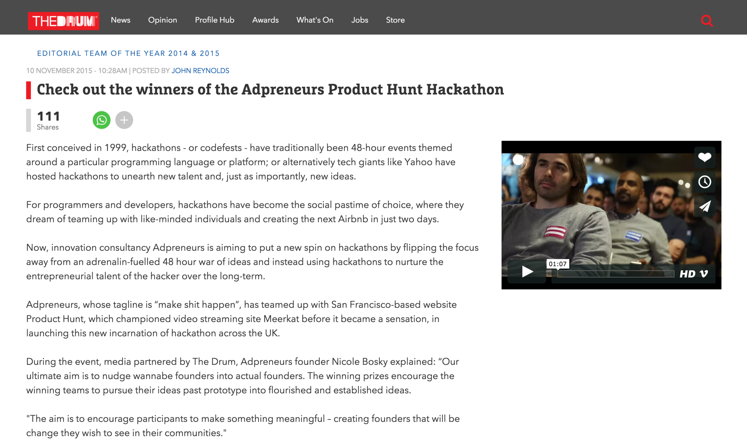 THE DRUM ARTICLE:   Article:  https://www.thedrum.com/news/2015/11/10/check-out-winners-adpreneurs-product-hunt-hackathon    Live Blog:  thedrum.com/news/2015/11/05/live-blog-follow-events-adpreneurs-product-hunt-hackathon